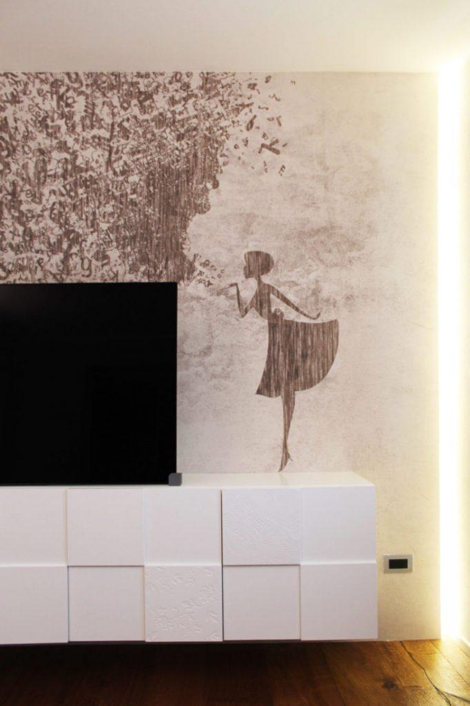 parete moderna con carta da parati di inkiostro bianco