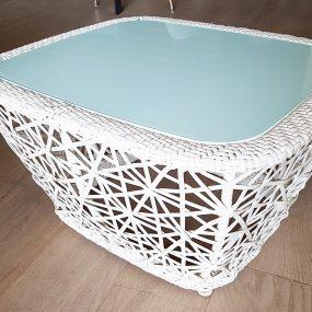 tavolino intreccio bianco da esterno kettal