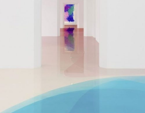 Pavimento in resina con effetto 3D colorato