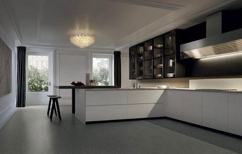 Comporre una cucina con penisola con Poliform